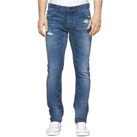 calvin klein 新款舒适直筒牛仔裤小范围做旧破洞牛仔裤