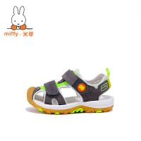 Miffy米菲儿童凉鞋女童凉鞋2017新款韩版夏季男童包头凉鞋机能鞋AX006