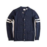 Levis/李维斯 春季男士拼接纯棉藏蓝色毛衣针织马甲开衫22297-0000