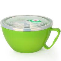 【当当自营】美厨(maxcook)304不锈钢泡面碗 900ml 双层隔热(绿色)MCWA-018 防漏 带盖 防烫 耐摔