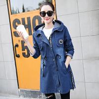 2017春装新款女装韩版中长款字母印花牛仔外套显瘦牛仔风衣17HDYY6708