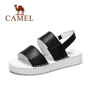 Camel/骆驼女鞋 2017春夏新款 欧美风休闲厚底鞋弹力带松糕凉鞋