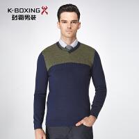 劲霸羊毛衫冬季保暖青年套头针织衫V领男士商务休闲打底衫毛衣男