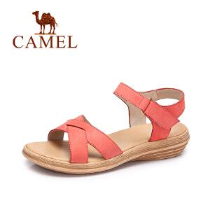Camel/骆驼女鞋 2017春夏新款休闲简约女鞋魔术贴平底舒适凉鞋女