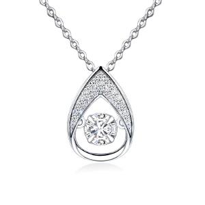 芭法娜 滴水情缘 s925银镶锆石时尚流行灵动吊坠 送银链 会动的锆石