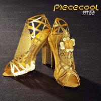 3D立体金属拼图手工金属拼装模型玩具创意礼物摆件 网状高跟凉鞋