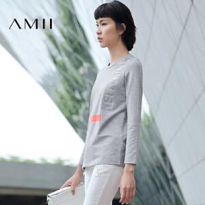 【AMII超级大牌日】[极简主义] 2017年春季圆领宽松印花长袖中长款T恤女棉11672897