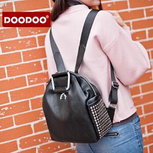 DOODOO 双肩包女背包 2017新款包包时尚简约个性旅行小背包女包 D6128 【支持礼品卡】