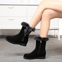 娜箐箐冬新款休闲欧美坡跟牛皮圆头中筒靴防水台真皮中跟女靴
