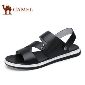 camel骆驼男鞋 2017夏季新品 凉鞋男士透气时尚休闲露趾牛皮凉鞋