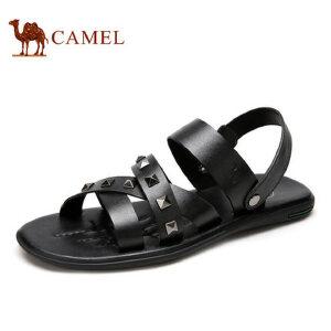 camel骆驼男鞋 夏季时尚休闲牛皮耐磨防滑 铆钉凉鞋男沙滩鞋