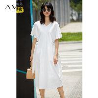 Amii[极简主义] 2017夏装新款宽松V领落肩绑带休闲连衣裙11772338