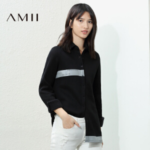 【AMII超级大牌日】[极简主义]2017年春新撞色印花抓绒大码常规款衬衫11672906