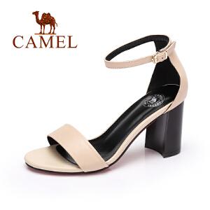 Camel/骆驼女鞋2017春夏新品通勤高跟凉鞋优雅舒适粗跟一字扣凉鞋