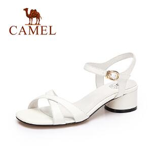 camel骆驼女鞋 夏季新品 时尚简约凉鞋女 甜美百搭方跟凉鞋