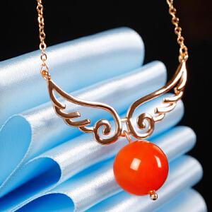 德仁恒宝 12MM南红珠镶S925银天使项链