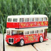 美致合金双层伦敦大巴士模型回力声光公交汽车大客车儿童玩具车
