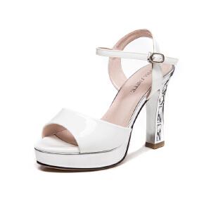 莎诗特2017新款粗跟凉鞋鱼嘴厚底防水台漆皮罗马女鞋时装高跟鞋夏86031
