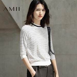 Amii[极简主义]2017春季半高领条纹针织修身短款大码T恤女装