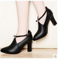 百年纪念春季新款高跟女鞋粗跟靴子英伦风单鞋时尚百搭尖头一字扣XKSJ1365