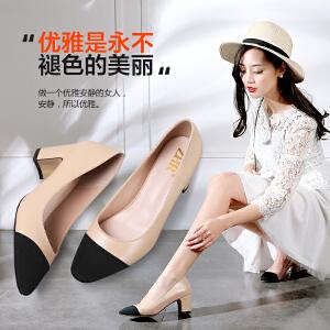 ZHR2017春季新款韩版尖头女鞋优雅浅口粗跟拼接单鞋休闲鞋X35