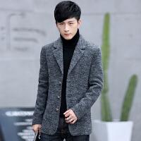 男士呢子大衣外套秋冬季新款韩版潮纯色休闲中长款毛呢大衣风衣男