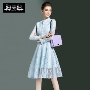 海青蓝2017春装新款OL通勤气质九分袖立领收腰蕾丝连衣裙女装8172