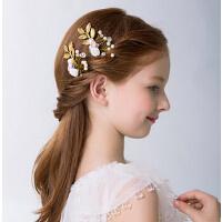 新款儿童时尚头饰欧美珍珠发夹 女童饰品头饰新年金色儿童礼服配饰