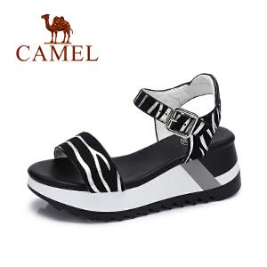 Camel/骆驼女鞋 2017夏季新款斑马纹凉鞋 舒适松糕底高跟女凉鞋