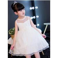 儿童礼服公主裙夏季花童礼服女婚纱公主裙白色生日女孩礼服蓬蓬裙