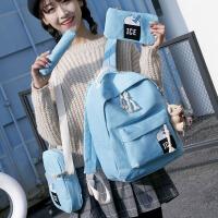 学院风简约日韩版潮帆布女中学生书包双肩包女高中印花冰激凌背包