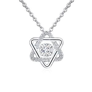 芭法娜 六芒星s925银韩版时尚流行灵动吊坠 送银链 会动的锆石