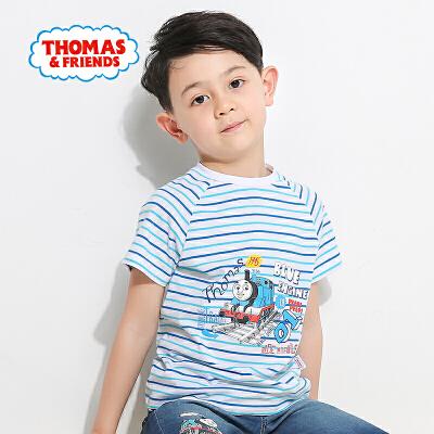 托马斯童装男童2017夏款新品时尚圆领纯棉清新条纹短袖上衣T恤
