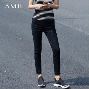 Amii2017春装新品立体剪裁显瘦九分牛仔裤女11761100