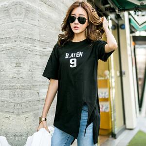 2017夏装新款韩版宽松不规则下摆短袖T恤女装上衣小衫潮
