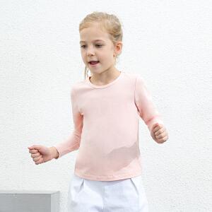 amii童装2017春新款女童长袖T恤中大童儿童纯色圆领打底衫上衣