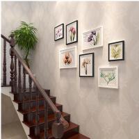 创意实木楼梯照片墙 小清新客厅楼道相框挂墙组合欧式相片墙装饰