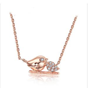 芭法娜 爱情小鸟系列 s925银镶锆石链牌  可爱造型 时尚甜美