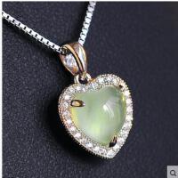 女士高贵简单大方挂件时尚镶嵌天然葡萄石水晶925银饰项链女吊坠