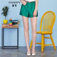 【2件5折】【4.5上新】海贝2017年夏季新款女装休闲裤 简约时尚通勤纯色收腰显瘦A字短裤