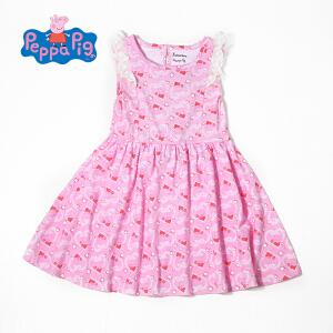 [满200减100]小猪佩奇正版童装女童夏装时尚满印小猪纯棉连衣裙公主裙