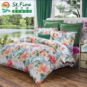 富安娜家纺 圣之花 全棉四件套床品 纯棉套件床单 日光森林 红色 1.8米(6英尺)