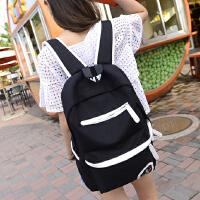 帆布休闲双肩包韩版时尚潮流男女背包学生包书包旅游旅行包大容量