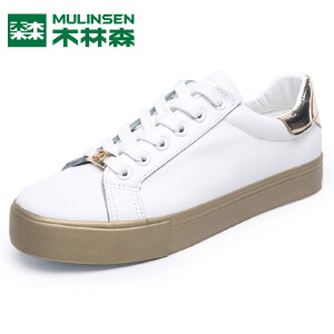 木林森休闲新款透气百搭平底板鞋白色潮流学生单鞋