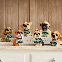 仿真狗名犬摆件 拉布拉多狼狗树脂小动物客厅创意家居桌面装饰品