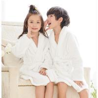 男女童浴袍衣珊瑚绒纯色中大童家居服浴袍儿童睡袍加长款法兰绒