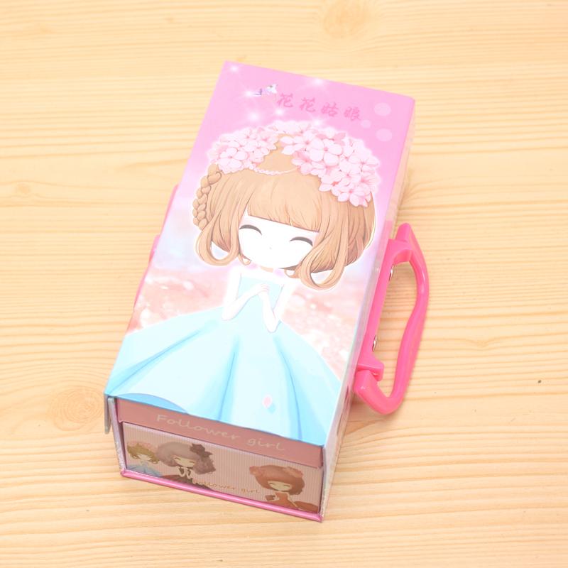 盒可爱三层密码锁公主文具盒kt猫铅笔盒 三层密码文具盒_花花姑娘a款