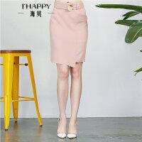 【4.5上新】海贝2017夏季新款女装半身裙 时尚OL收腰系带修身不规则下摆中裙
