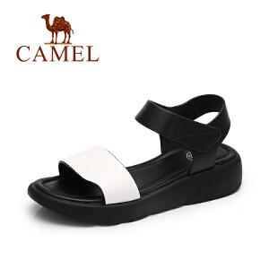Camel/骆驼女鞋 2017春夏新款百搭松糕厚底松糕鞋女 魔术贴简约凉鞋