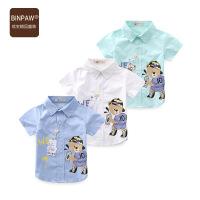 【夏季清仓】夏装儿童短袖衬衫 2017新款大熊童装韩版男童衬衣半袖上衣